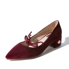 Women's Velvet Chunky Heel Mary Jane With Lace-up shoes