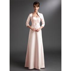 Forme Princesse Bustier en coeur Longueur ras du sol Satiné Robe de mère de la mariée avec Plissé Emperler
