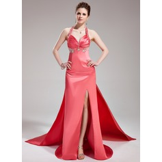 A-Line/Princess Halter Watteau Train Charmeuse Evening Dress With Ruffle Beading Split Front