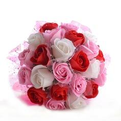 Romantisch Rund Schaum Brautsträuße/Brautjungfer Blumensträuße
