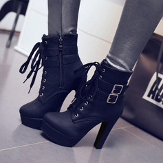 Women's PU Chunky Heel Pumps Platform Boots With Buckle Zipper Lace-up shoes