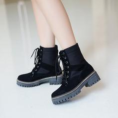 Mulheres Camurça Salto baixo Sem salto Plataforma Bota no tornozelo com Aplicação de renda sapatos