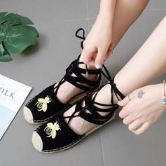 Femmes Suède Talon plat Chaussures plates Bout fermé avec Dentelle chaussures