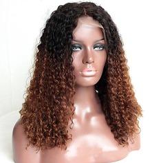 4A Nicht remy Kinky Gelockt Menschliches Haar Volle Spitze Perücken