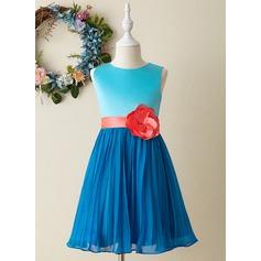 A-Line Knee-length Flower Girl Dress - Satin Sleeveless Scoop Neck
