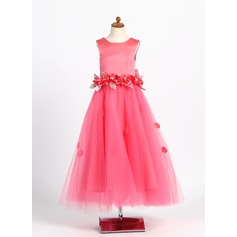 A-Line/Princess Ankle-length Flower Girl Dress - Satin/Tulle Sleeveless Scoop Neck With Beading/Flower(s)/Bow(s)