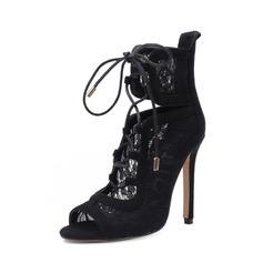 Mulheres Camurça Renda Salto agulha Bombas Botas Peep toe Bota no tornozelo com Zíper Aplicação de renda sapatos
