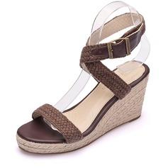 Kvinnor Mesh Kilklack Öppen tå Sandaler Kilar med Spänne Ihåliga ut