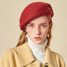 Ladies' Glamourous/Charming/Romantic Wool With Tulle Beret Hats