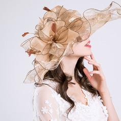 Dames Le plus chaud/Romantique Fil net avec Feather Chapeaux de plage / soleil/Kentucky Derby Des Chapeaux/Chapeaux Tea Party