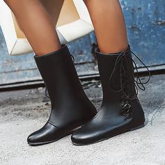 Frauen Kunstleder Flascher Absatz Stiefel-Wadenlang mit Zuschnüren Schuhe