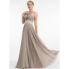 A-Linie V-Ausschnitt Bodenlang Chiffon Abendkleid mit Spitze