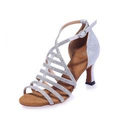 Mulheres Couro Saltos Sandálias Latino com Strass Sapatos de dança