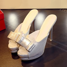 Frauen Kunstleder Stöckel Absatz Sandalen mit Bowknot Schuhe