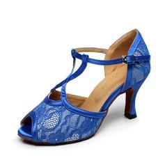Mulheres Cetim Renda Saltos Sandálias Latino Sapatos de dança