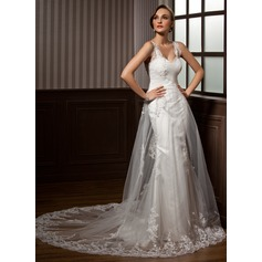 Forme Princesse Bustier en coeur Traîne mi-longue Tulle Robe de mariée avec Plissé Dentelle