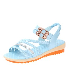 Women's Leatherette Wedge Heel Sandals Wedges Peep Toe Slingbacks With Rhinestone Buckle Braided Strap shoes