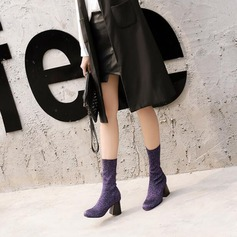 De mujer Brillo Chispeante Tacón ancho Cerrados Botas Botas longitud media Martin botas zapatos