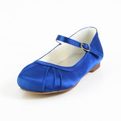 Girl's Closed Toe Satin Flat Heel Flats Flower Girl Shoes With Buckle (207095468)