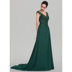 A-Line/Princess V-neck Sweep Train Chiffon Evening Dress With Beading Sequins (017137353)