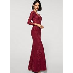 Sheath/Column V-neck Floor-Length Chiffon Lace Evening Dress