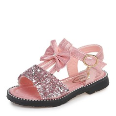 Girl's Peep Toe Leatherette Low Heel Sandals Flats Flower Girl Shoes With Bowknot Sequin