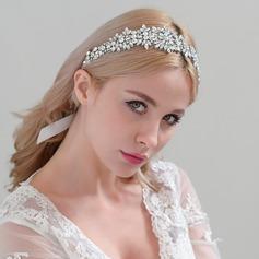 Señoras Romántico Satén Diademas con Crystal (Se venden en una sola pieza)