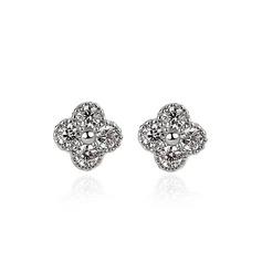 Dames Élégante Argent 925 avec Diamant Zircon cubique Boucles d'oreilles elle/Demoiselle d'honneur