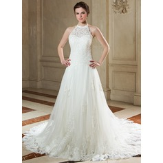 A-Line/Princess Halter Court Train Tulle Lace Wedding Dress With Beading Sequins (002000141)
