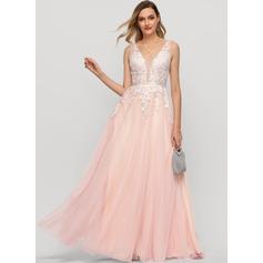 A-Line V-neck Floor-Length Tulle Prom Dresses