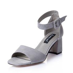 Mulheres Camurça Salto robusto Sandálias Peep toe sapatos