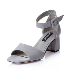 Kvinnor Mocka Tjockt Häl Sandaler Peep Toe skor