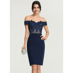 Sheath/Column Off-the-Shoulder Knee-Length Stretch Crepe Cocktail Dress With Beading (016170897)