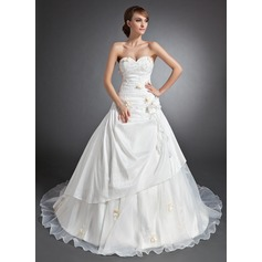 Ball-Gown Sweetheart Cathedral Train Taffeta Wedding Dress With Ruffle Appliques Lace Flower(s)