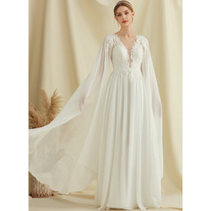 A-Line V-neck Floor-Length Chiffon Lace Wedding Dress With Sequins (002234898)