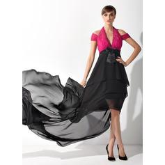 A-Linie/Princess-Linie Träger Asymmetrisch Chiffon Spitze Kleid für die Brautmutter mit Rüschen Schleife(n)