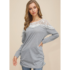 Lace Long Sleeves Polyester Round Neck Blouses (1003237809)