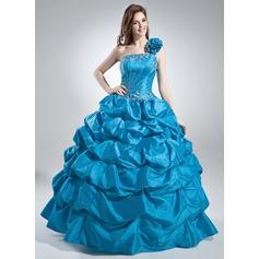 Duchesse-Linie One-Shoulder-Träger Bodenlang Taft Quinceañera Kleid (Kleid für die Geburtstagsfeier) mit Rüschen Perlen verziert Pailletten