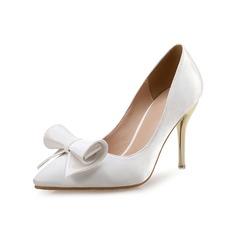 Femmes Satiné Similicuir Talon stiletto Escarpins avec Bowknot chaussures
