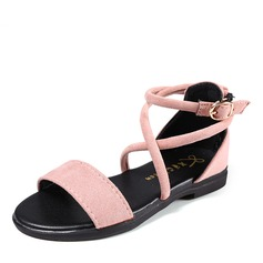 Ragazze Punta aperta scamosciato Heel piatto Sandalo Ballerine Scarpe Flower Girl con Fibbia
