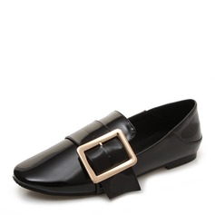 Women's Patent Leather Flat Heel Flats Closed Toe With Buckle shoes