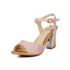 Kvinner Lær Stiletto Hæl Sandaler Pumps sko (087093367)