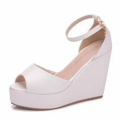 Women's Leatherette Wedge Heel Flip-Flops Peep Toe Platform Wedges