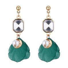 Beau Alliage Strass De faux pearl Acrylique avec Perle d'imitation Strass Femmes Boucles d'oreille de mode