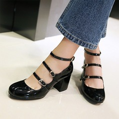 Women's Patent Leather Chunky Heel Pumps Closed Toe Mary Jane With Buckle shoes