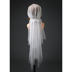 Two-tier Cut Edge Elbow Bridal Veils With Beading (006221240)
