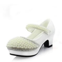 Jentas Lukket Tå Microfiber Lær Høye hæler Pumps Flower Girl Shoes med Imitert Perle Rhinestone Velcro