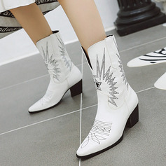 Kvinder PU Kegle Hæl Pumps Støvler Mid Læggen Støvler med Animalske Udskriv sko