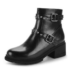 Frauen PU Stämmiger Absatz Stiefel Stiefelette mit Niete Stich Spitzen Reißverschluss Schuhe