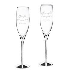 Persoonlijke Hart ontwerp Glas/Aluminium Roosteren fluiten (Set van 2)